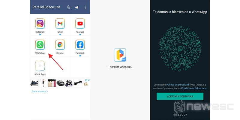 tener 2 whatsapp con parallel space lite