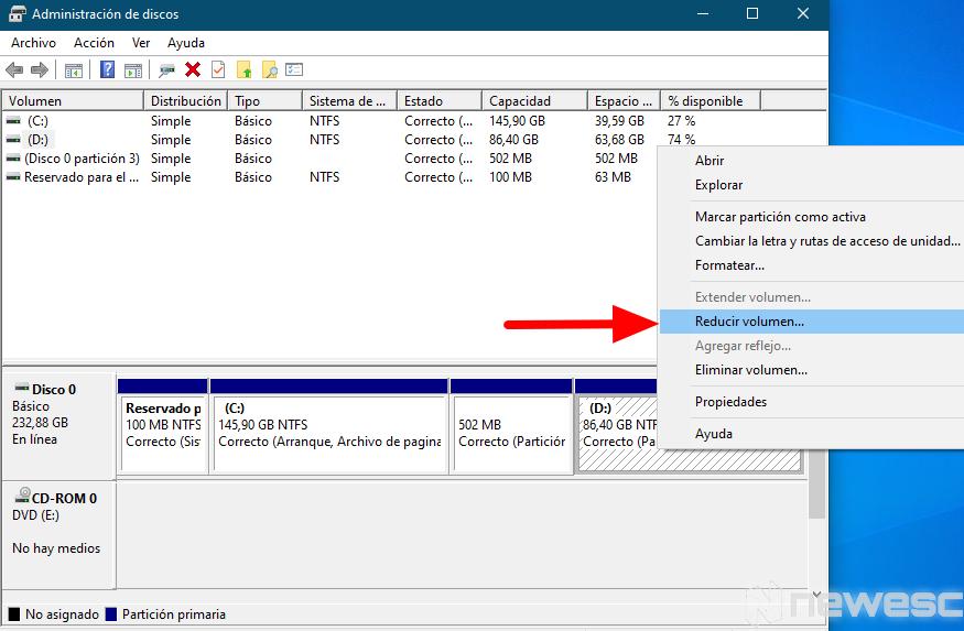 como particionar disco duro windows 3
