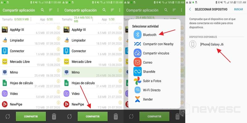 compartir aplicaciones por app/share
