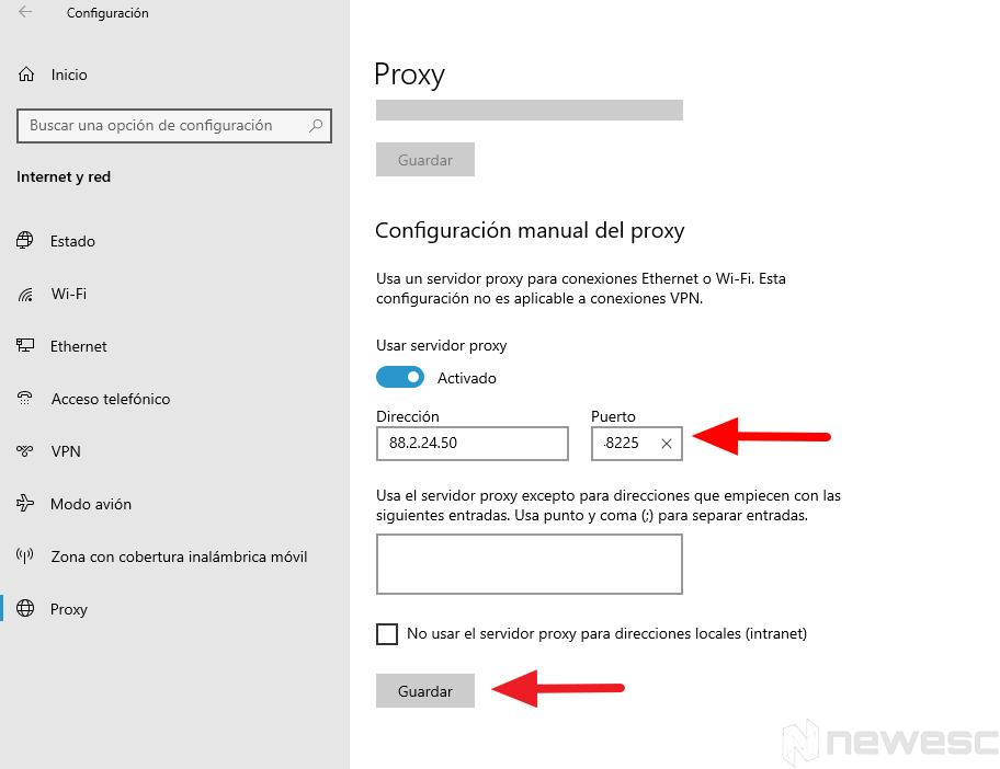 configurar conexion proxy 2