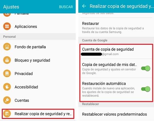 copia de seguridad en ajustes Android