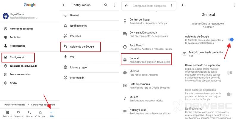 desactivar el asistente de Google