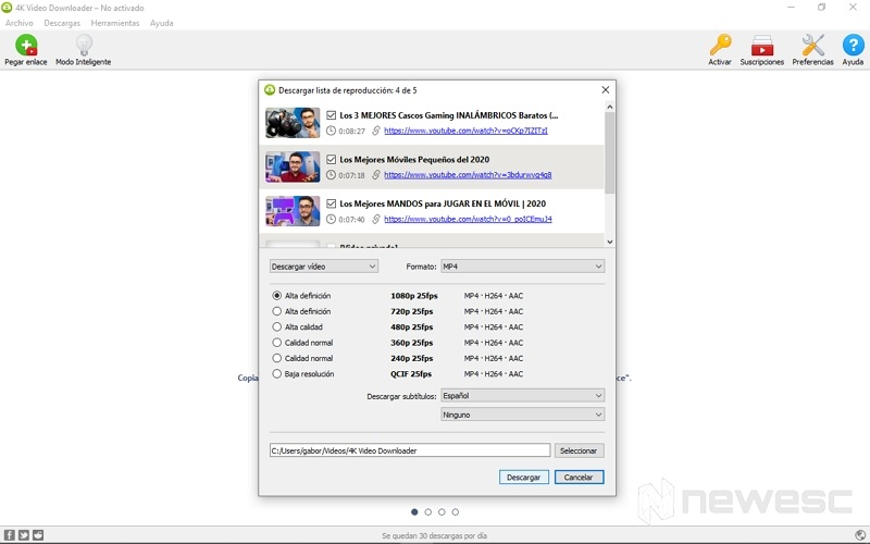 descargar listas de reproducción YouTube en 4K 2