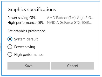 elegir la GPU en Windows 10