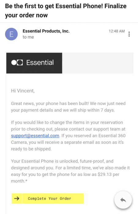 Essential phone email