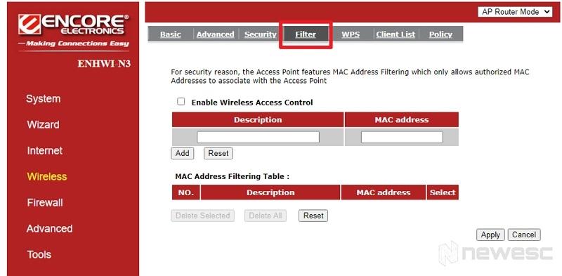 filtrar conexión WiFi con dirección MAC
