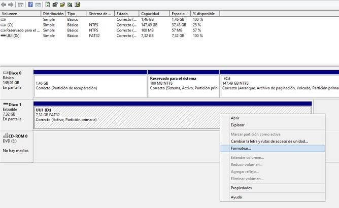 formatear disco duro Administrador de discos