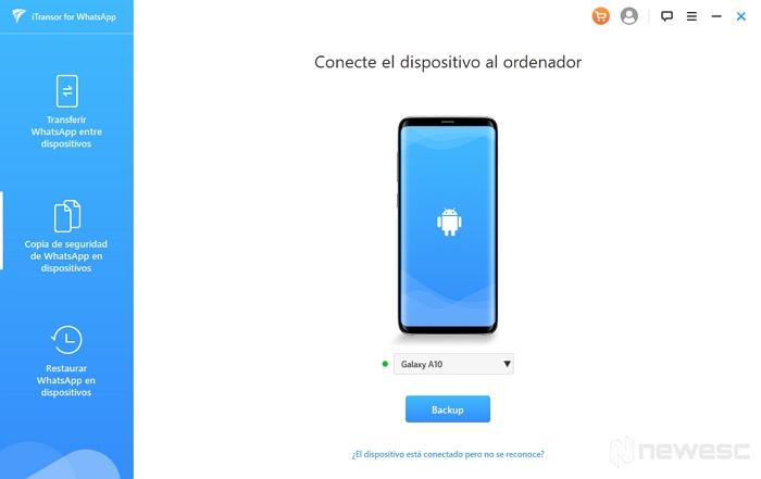 iTransor Copia de seguridad de WhatsApp en dispositivos