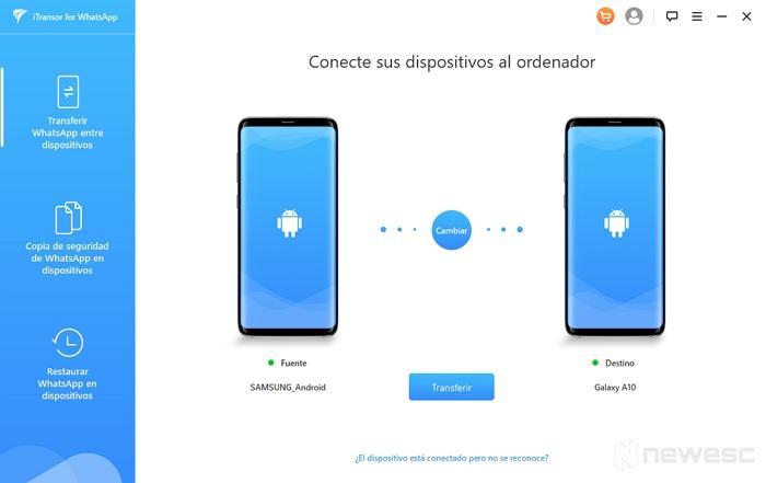 iTransor para transferir WhatsApp entre dispositivos
