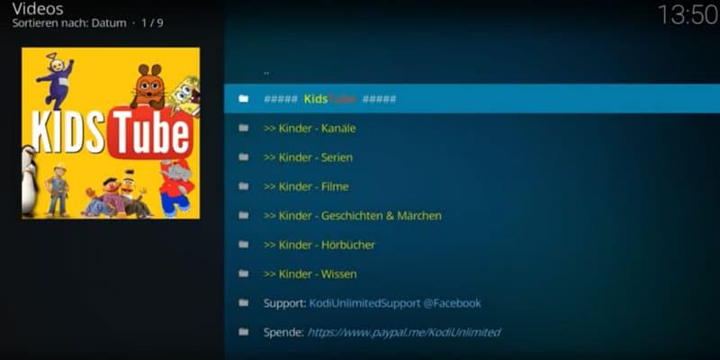 kids tube addon en kodi