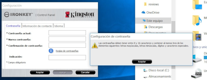 kingston ironkey d300 Contraseña