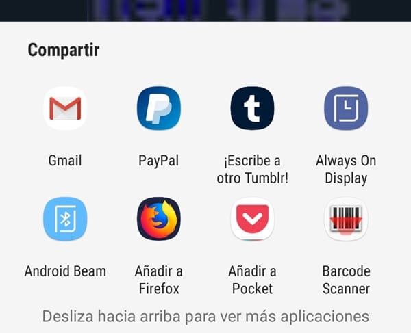 Menu Compartir Android Redes Socales Apps