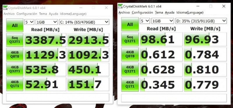msi gt75vr 7rf Crystal disk SSD hdd
