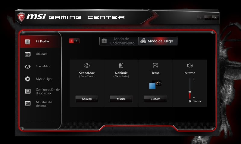 msi trident 3 artic gaming center EZ profile