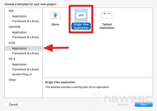 nueva aplicación en Xcode