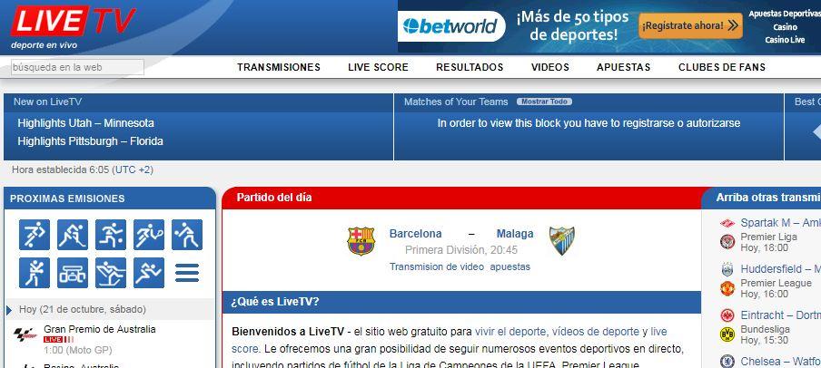 paginas para ver futbol gratis LiveTV