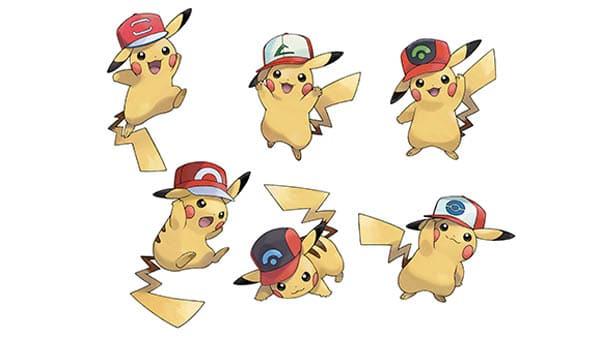 Pikachu con gorras de las regiones