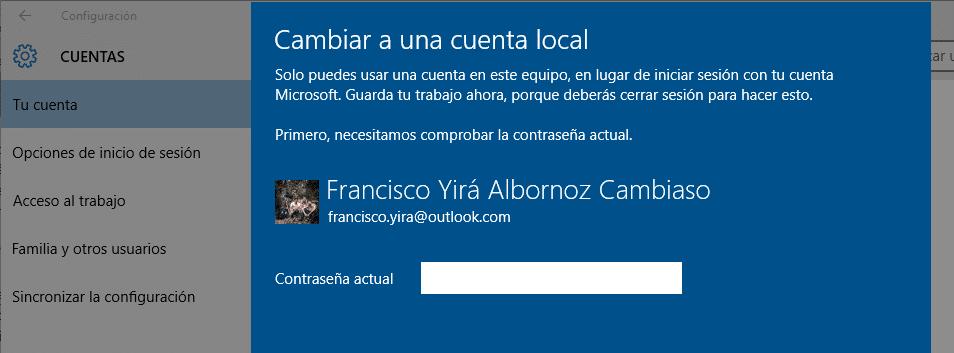 quitar contraseña inicio windows 10 cuenta local