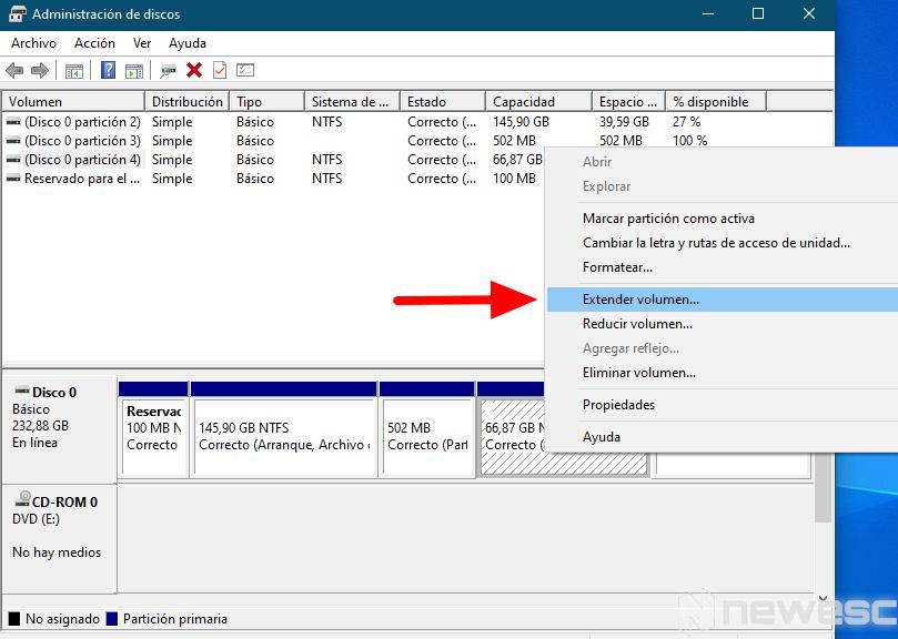 quitar particion de disco duro Windows
