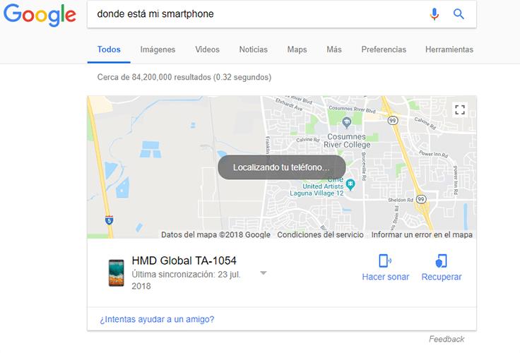 rastrear un celular con Google