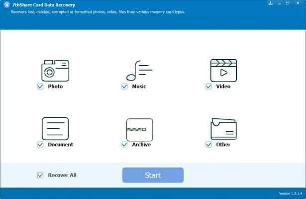 Recuperar datos y fotos de tarjeta SD - 7thShare data recovery