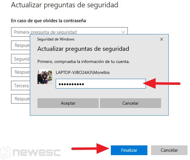 restablecer contraseña windows 10 configuración preguntas 2 min
