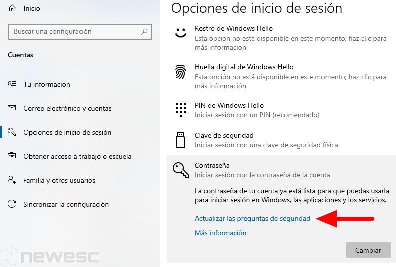 restablecer contraseña windows 10 configuración preguntas1 min