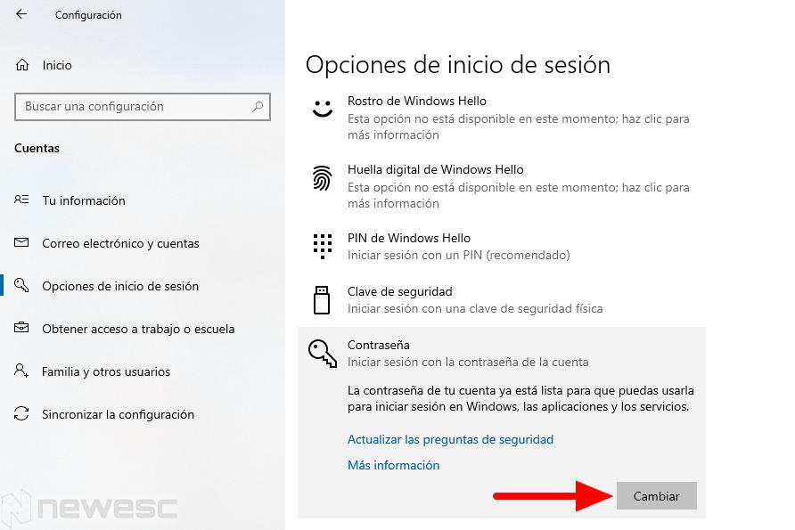restablecer contraseñar windows 10 configuración min