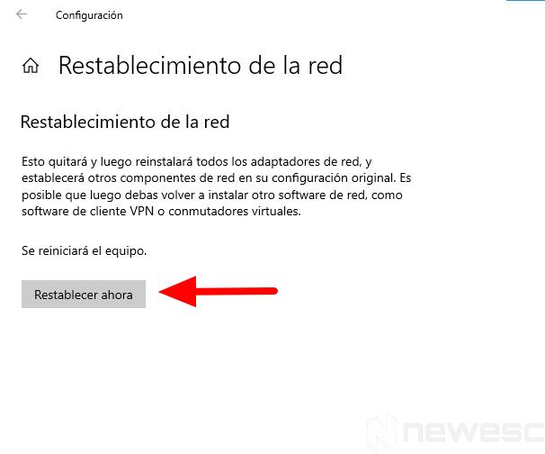 restablecer red 1