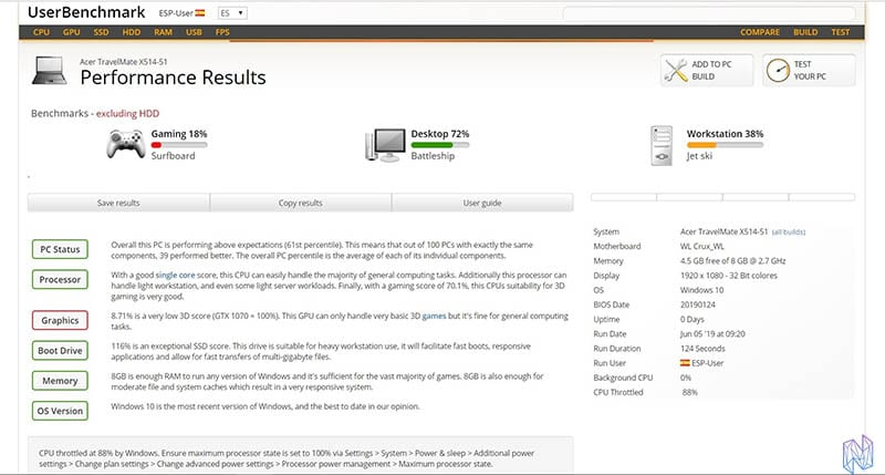 review acer travelmate x5 userbenchmark