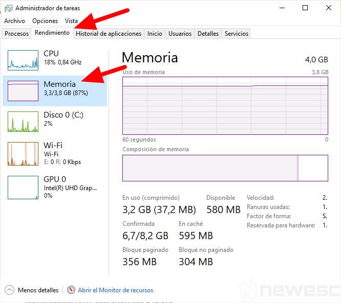 saber capacidad y velocidad de memoria ram 1