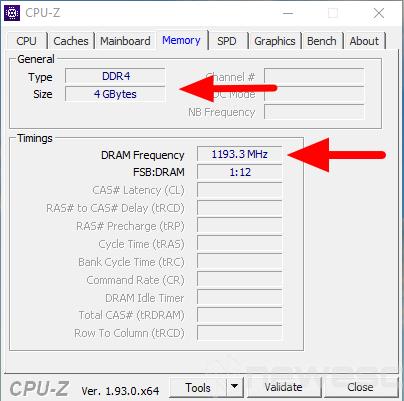 saber capacidad y velocidad de memoria ram 4