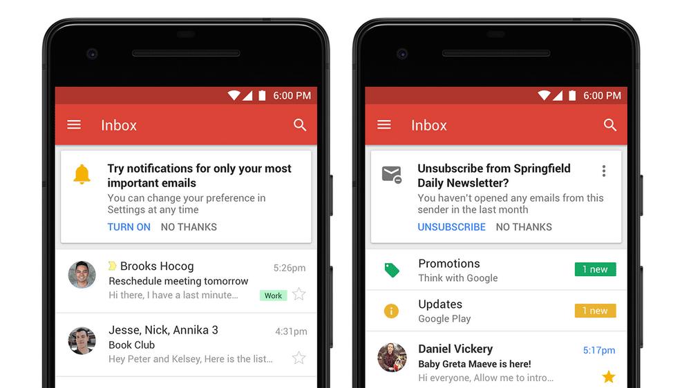 sugerencia de gmail de baja de notificaciones