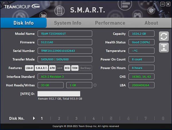 team group CX2 SSD smart tool