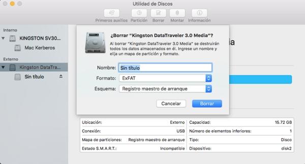 utilidad de disco en Mac OS