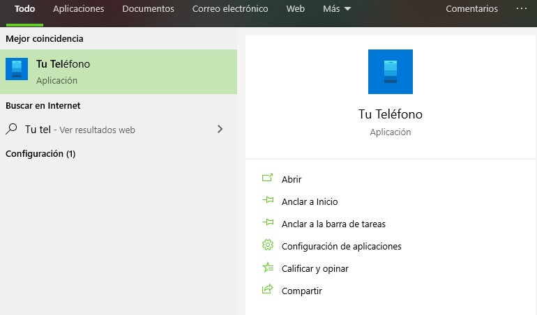 ver pantalla del movil en la PC Windows 10 Tu Telefono